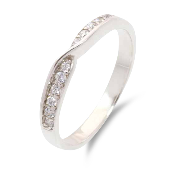 627 - Twist shaped wedding ring  with twelve grain set diamonds.